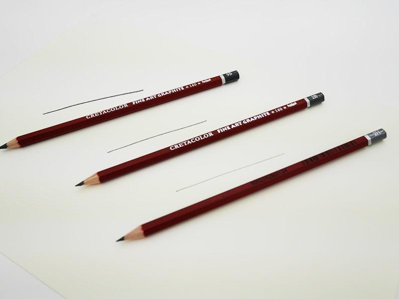 Eri lyijykynävalmistajien erot paljastuvat erityisesti sarjan pehmeään päähän mentäessä. Pehmeimpien kynien jäljen tulisi olla intensiivistä väriltään ja kynän liukua paperilla sulavasti. Kuvassa Cretacolor-lyijykynät kolmessa eri kovuudessa.