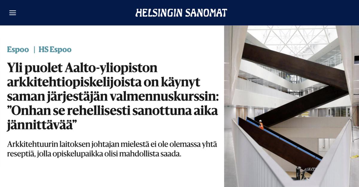 Yli puolet Aalto Yliopiston arkkitehtuurin opiskelijoista Teho-Opistolta